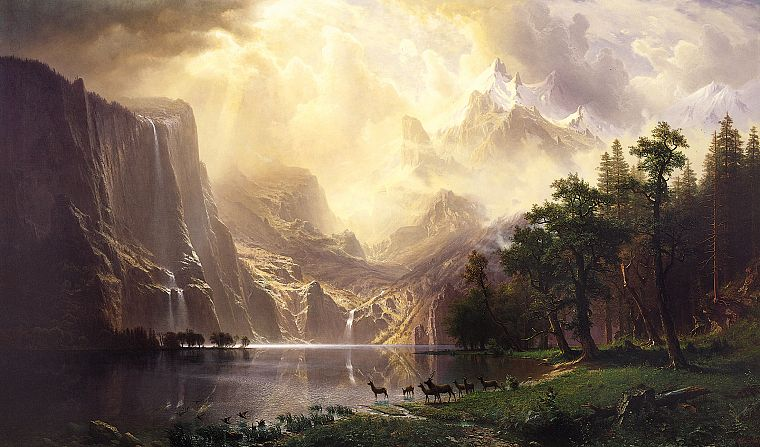 paintings, mountains, clouds, landscapes, animals, deer, California, Sierra Nevadas, waterfalls - desktop wallpaper