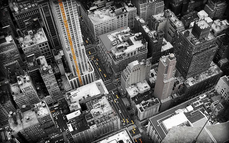 cityscapes, New York City, selective coloring - desktop wallpaper