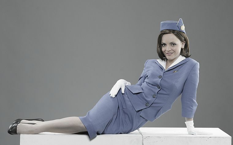 brunettes, women, uniforms, Christina Ricci, high heels, stewardess, television, Pan Am - desktop wallpaper