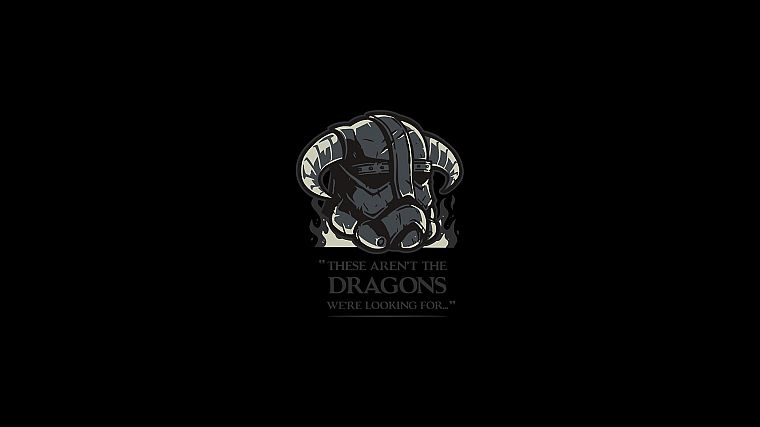 Star Wars, minimalistic, dragons, The Elder Scrolls V: Skyrim, black background - desktop wallpaper
