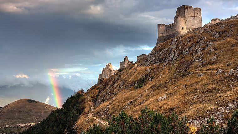 sunset, mountains, clouds, landscapes, nature, Sun, castles, ruins, skylines, grass, fields, rainbows, skyscapes - desktop wallpaper