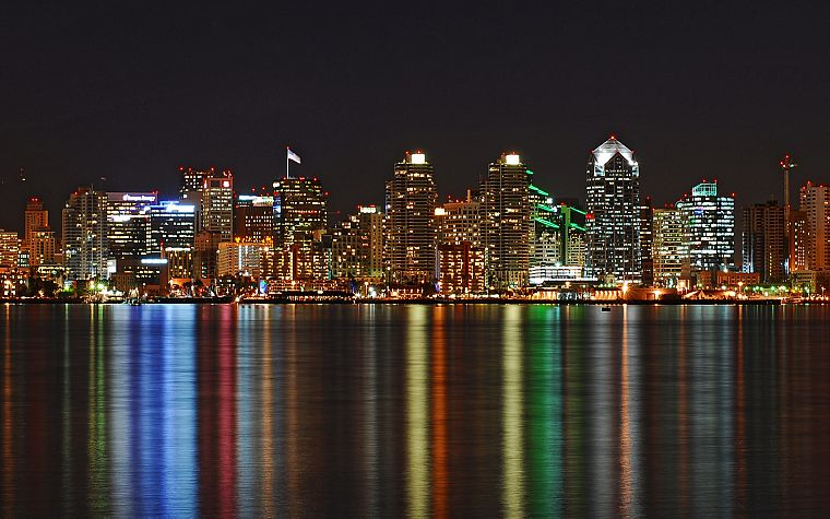 water, cityscapes, skylines, architecture, buildings, San Diego, nightlights, reflections - desktop wallpaper