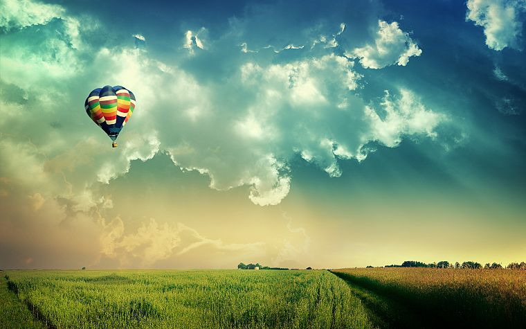 clouds, landscapes, nature, fields, hot air balloons, skyscapes - desktop wallpaper
