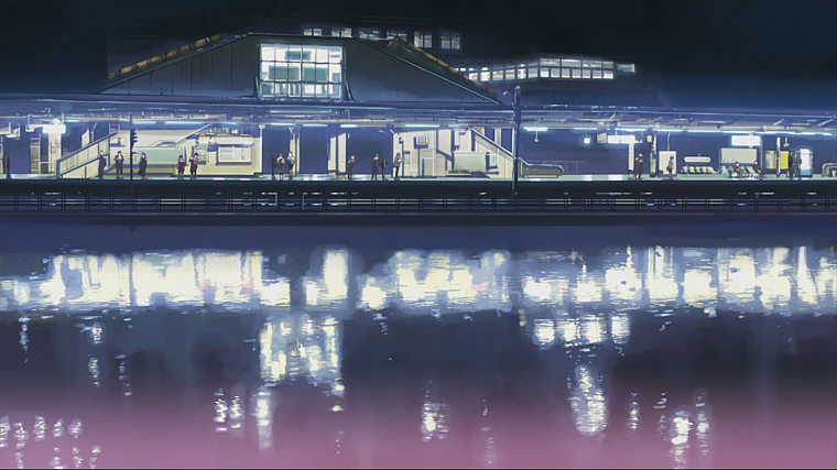 Makoto Shinkai, train stations, 5 Centimeters Per Second, artwork, anime, reflections - desktop wallpaper