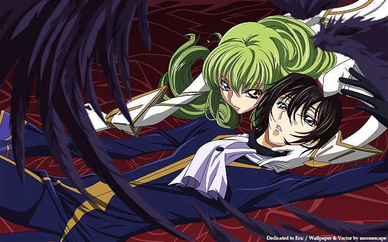 wings, Code Geass, vectors, couple, green hair, Lamperouge Lelouch, C.C., anime, golden eyes, anime girls - desktop wallpaper