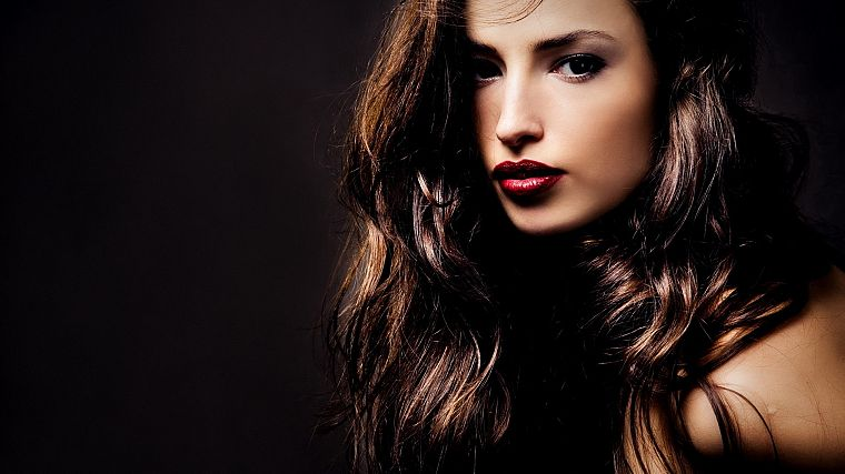brunettes, women, lips, faces, black background - desktop wallpaper