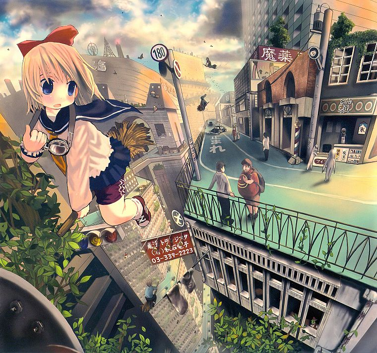 brunettes, blondes, clouds, trees, cityscapes, flying, blue eyes, school uniforms, schoolgirls, skirts, outdoors, socks, buildings, fantasy art, goggles, traffic lights, short hair, skyscrapers, brooms, scenic, blush, bows, open mouth, anime boys, bracele - desktop wallpaper