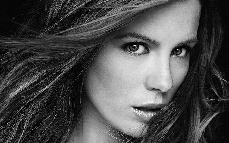 women, Kate Beckinsale, grayscale, monochrome - desktop wallpaper