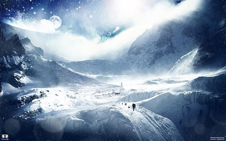 mountains, winter, snow, Desktopography - desktop wallpaper