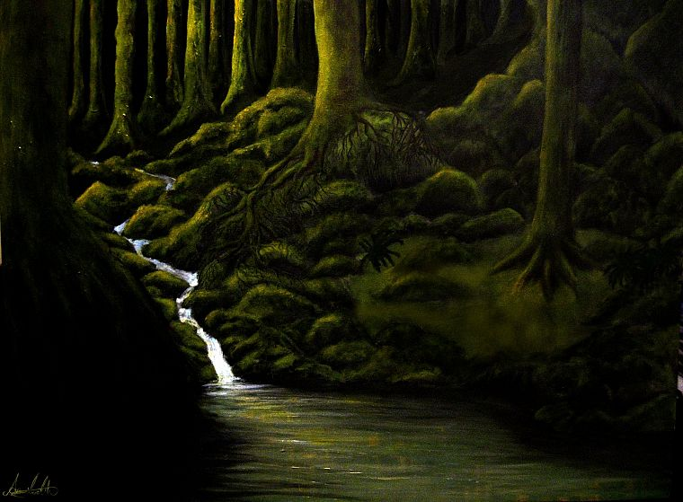 green, paintings, dark, forests, artwork, rivers - desktop wallpaper