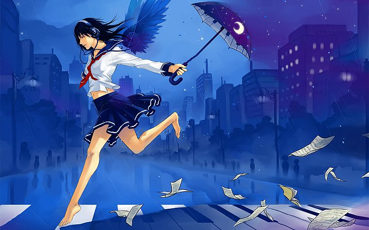 headphones, abstract, music, skirts, blue hair, red eyes, artwork, umbrellas, anime girls - desktop wallpaper