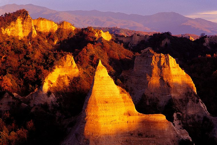 sunset, nature, Melnik Pyramids, Bulgaria - desktop wallpaper