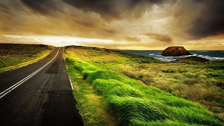 clouds, landscapes, horizon, roads, HDR photography - desktop wallpaper
