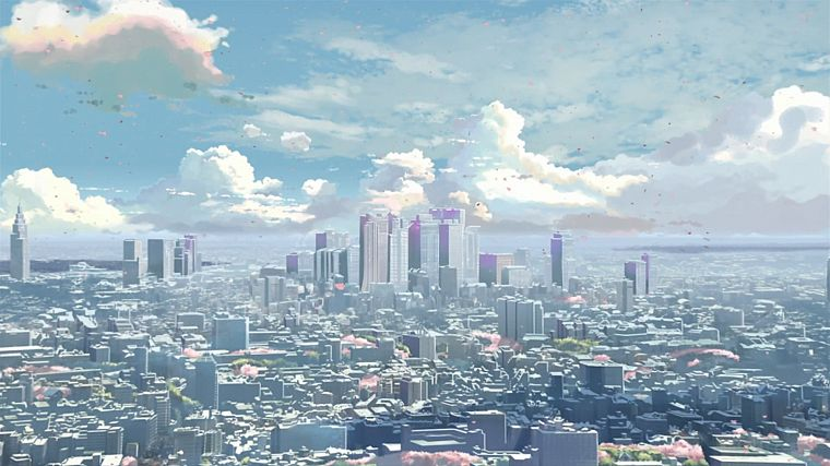 cityscapes, buildings, Makoto Shinkai, 5 Centimeters Per Second - desktop wallpaper