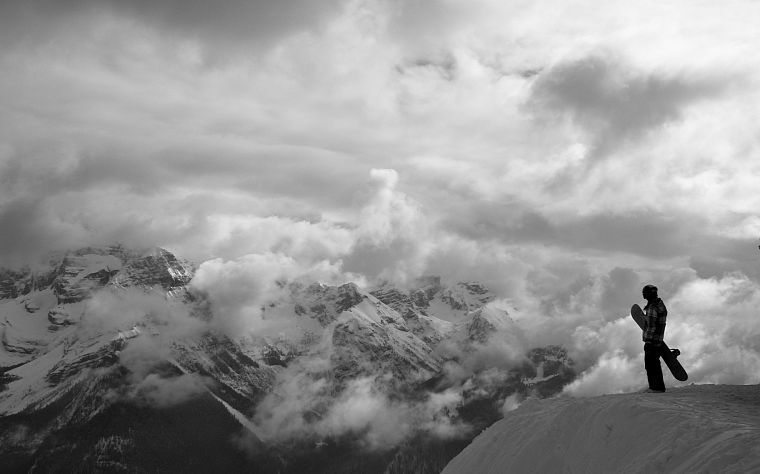 mountains, landscapes, snow, monochrome, snowboarding, greyscale - desktop wallpaper