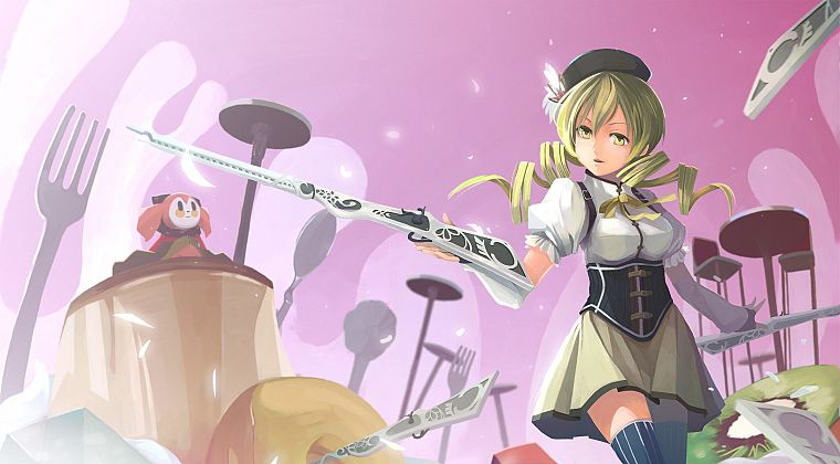 blondes, rifles, guns, gloves, stockings, fruits, food, skirts, long hair, ribbons, corset, kiwi, thigh highs, yellow eyes, Mahou Shoujo Madoka Magica, Tomoe Mami, curly hair, open mouth, anime, forks, golden eyes, soft shading, hats, anime girls, spread  - desktop wallpaper
