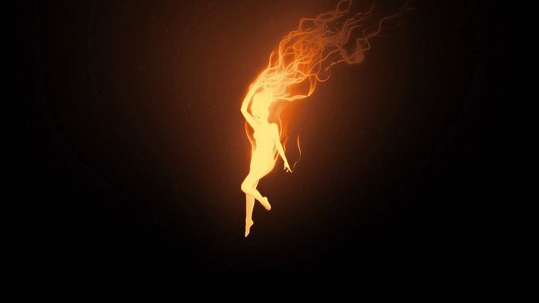 women, fire, black background - desktop wallpaper