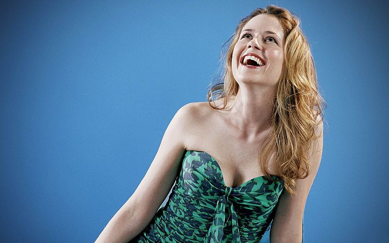 women, blue, Jenna Fischer - desktop wallpaper