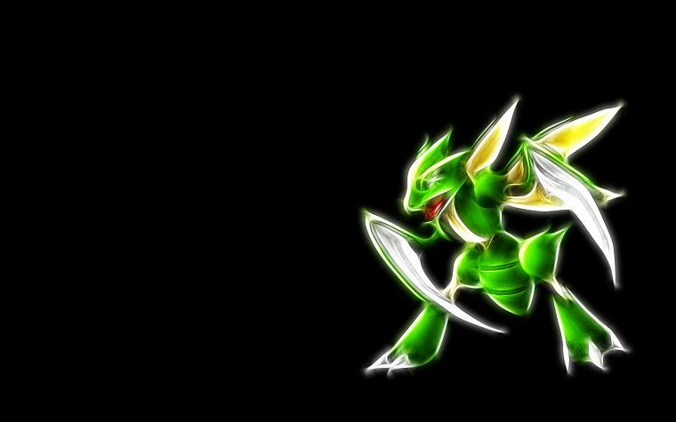Pokemon, scythe, black background - desktop wallpaper