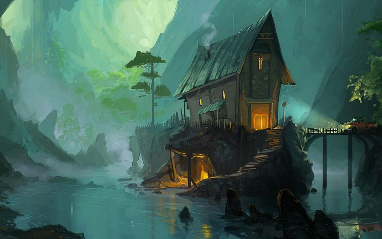 paint, fantasy art, artwork, drawings, house, Andrew Theophilopoulos - desktop wallpaper