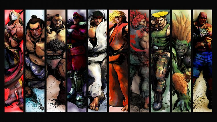 video games, Ryu, Sagat, Street Fighter IV, Akuma, Ken, Zangief, Blanka, Vega, E. Honda, Guile - desktop wallpaper