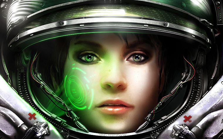 women, video games, StarCraft, artwork, faces, medic - desktop wallpaper