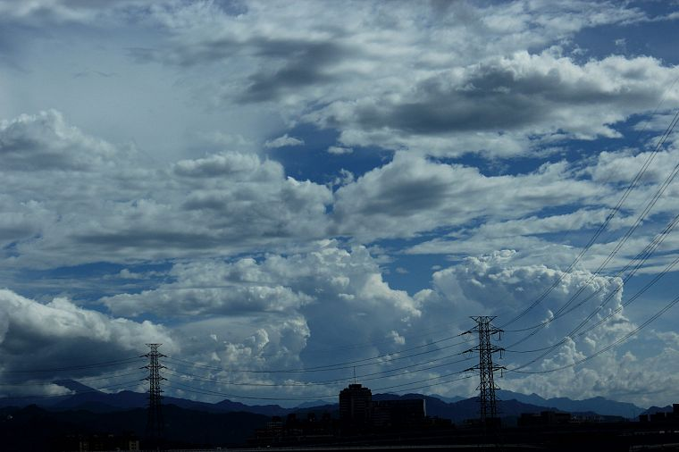 clouds, power lines - desktop wallpaper