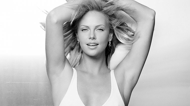 lingerie, blondes, women, Charlize Theron, monochrome - desktop wallpaper
