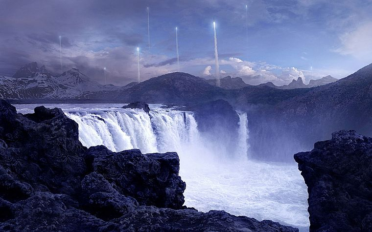 fantasy, aircraft, rocks, digital art, artwork, contrails, waterfalls, 3D, Andree Wallin - desktop wallpaper