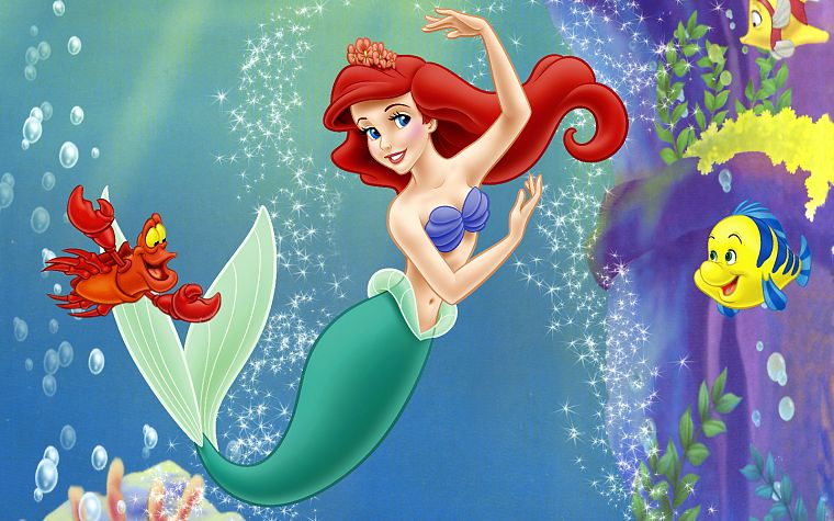 Disney Company, redheads, The Little Mermaid, mermaids, soft shading, Ariel (Mermaid), Disney Princesses, flounder - desktop wallpaper
