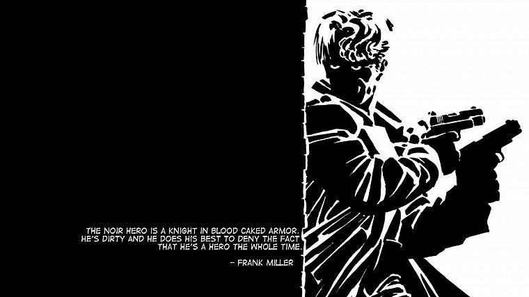 soldiers, guns, Noir, monochrome, Frank Miller - desktop wallpaper