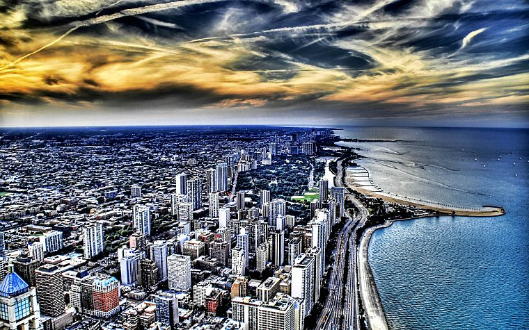 coast, cityscapes, Chicago, buildings, skyscrapers, Lake Michigan, HDR photography, Great Lakes, beaches - desktop wallpaper