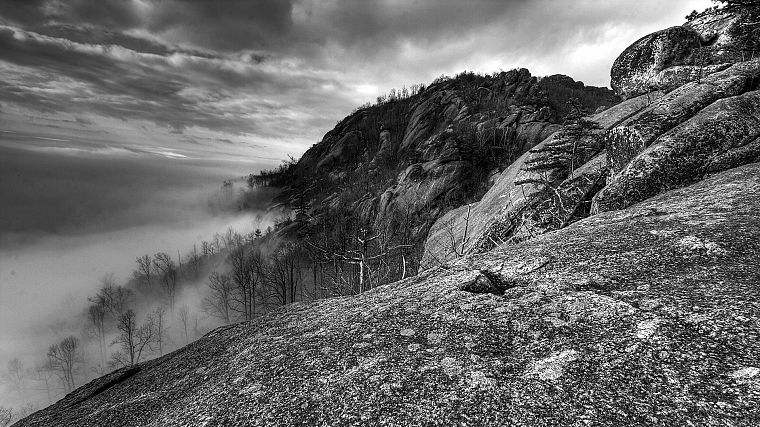 mountains, landscapes, nature, mist, monochrome - desktop wallpaper