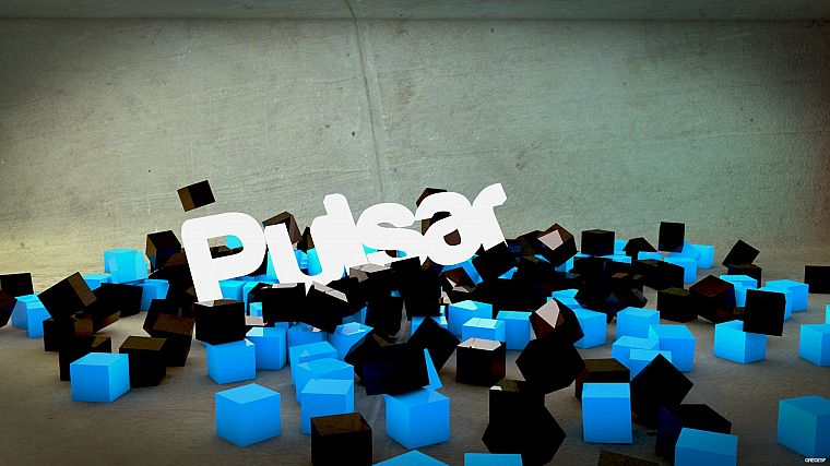 abstract, black, minimalistic, Arch Linux, cubes, pulsar, 3D renders, Lights (singer) - desktop wallpaper