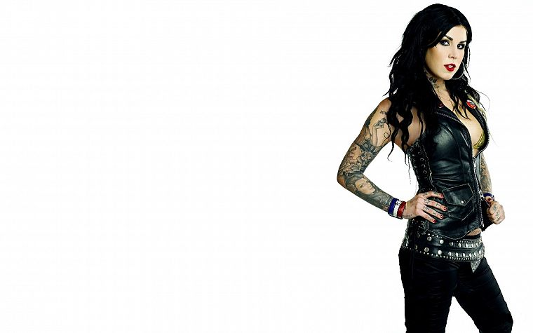 leather, brunettes, tattoos, women, Kat von D, white background - desktop wallpaper