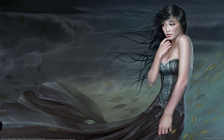 women, dress, artwork, realistic, Yuehui Tang - desktop wallpaper