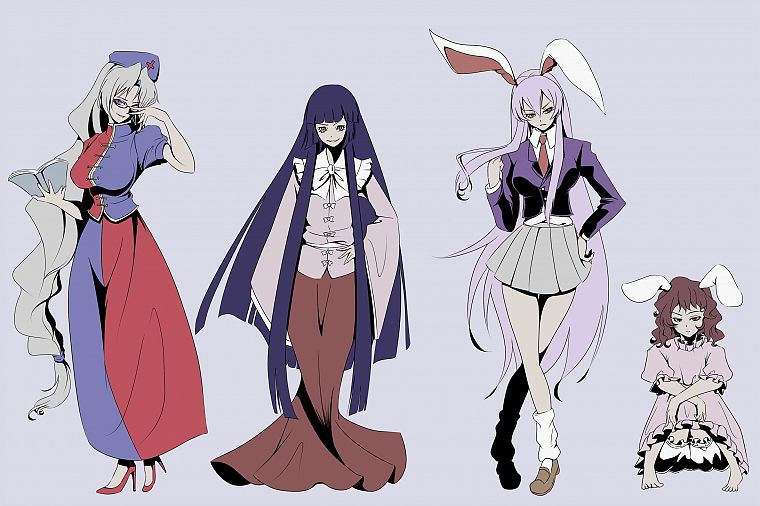 brunettes, video games, Touhou, dress, blue eyes, princess, school uniforms, schoolgirls, tie, skirts, glasses, long hair, brown eyes, nurses, purple hair, books, pink hair, animal ears, red eyes, high heels, short hair, Reisen Udongein Inaba, Imperishabl - desktop wallpaper