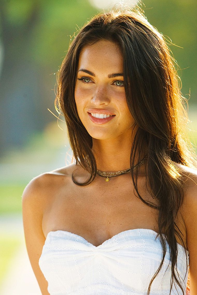 brunettes, women, dress, white, Megan Fox, actress, long hair, celebrity - desktop wallpaper