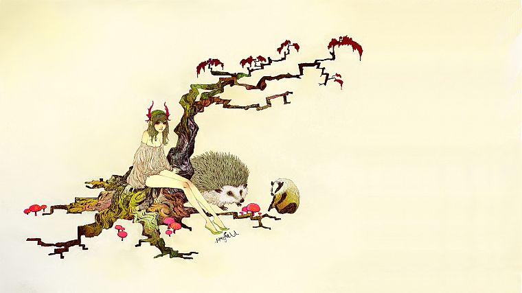 trees, animals, hedgehogs, simple background, somefield, Barnaby Ward - desktop wallpaper