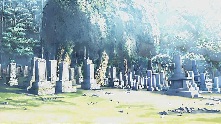 trees, Makoto Shinkai, scenic, The Place Promised in Our Early Days, cemetery - desktop wallpaper
