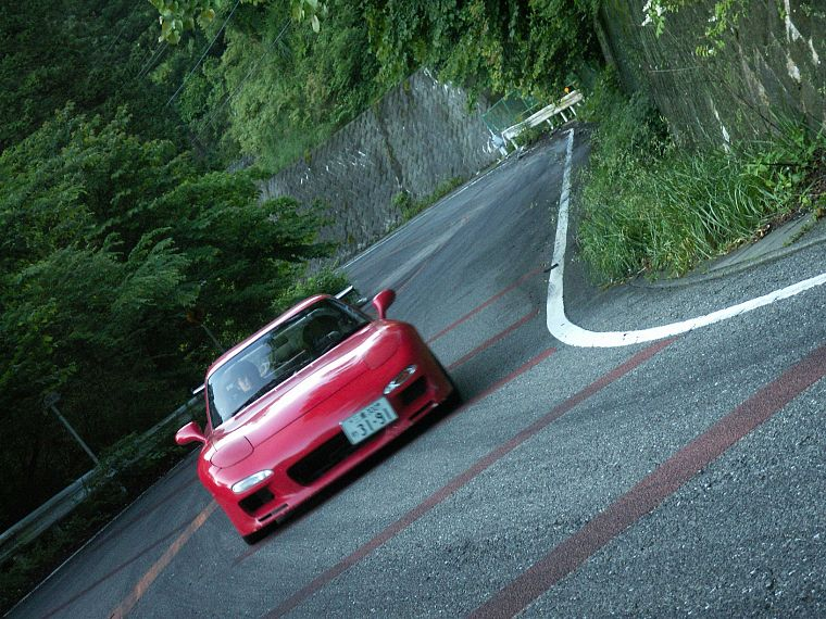 Japan, mountains, cars, vehicles, Mazda RX-7, red cars, Mazda RX-7 FD-3S - desktop wallpaper