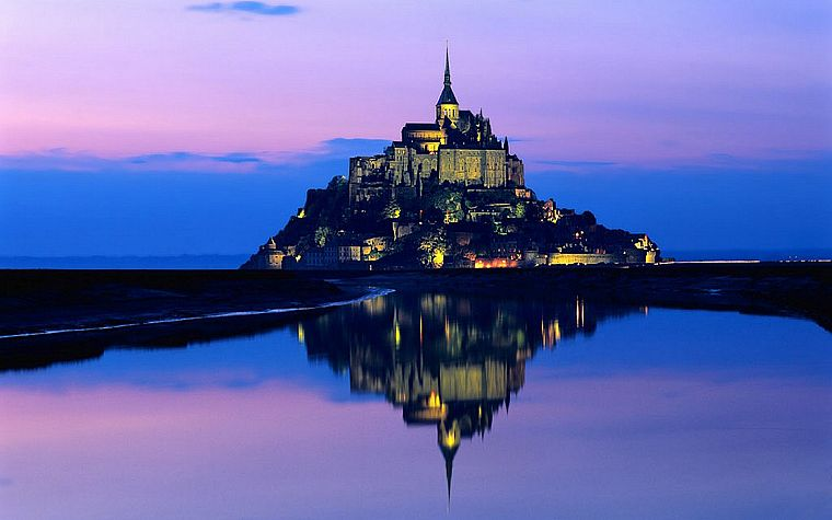 water, landscapes, France, Mont Saint-Michel - desktop wallpaper