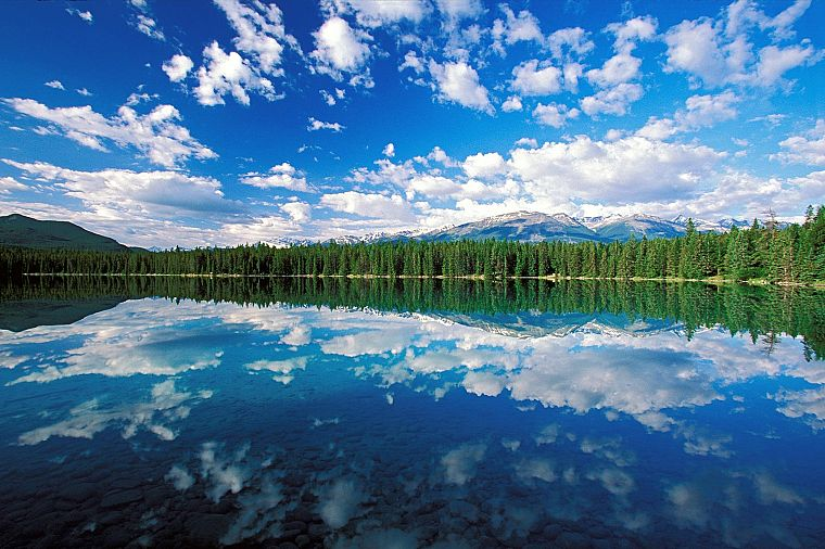 clouds, landscapes, trees, lakes, skyscapes - desktop wallpaper