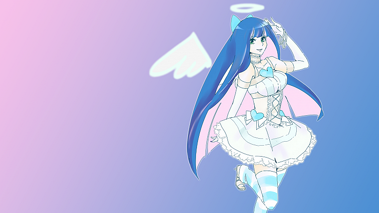 Panty and Stocking with Garterbelt, Anarchy Stocking, striped legwear - desktop wallpaper