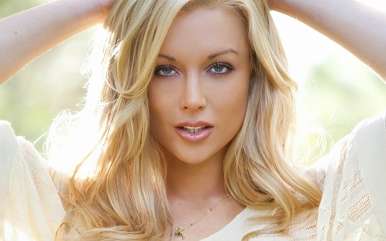 blondes, women, blue eyes, pornstars, Kayden Kross, faces, headshot - desktop wallpaper