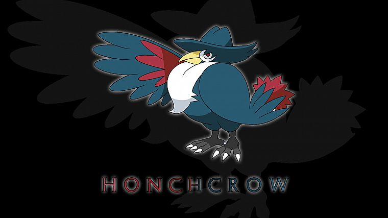 Pokemon, black background, Honchrow - desktop wallpaper