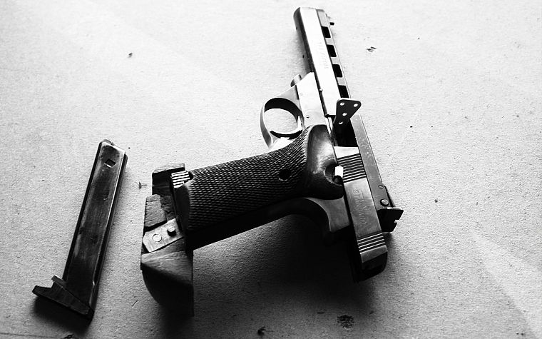 pistols, guns, grayscale, monochrome - desktop wallpaper