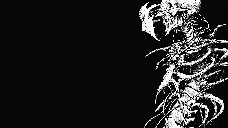horror, minimalistic, grayscale, skeletons, manga, bones, biomega, black background - desktop wallpaper