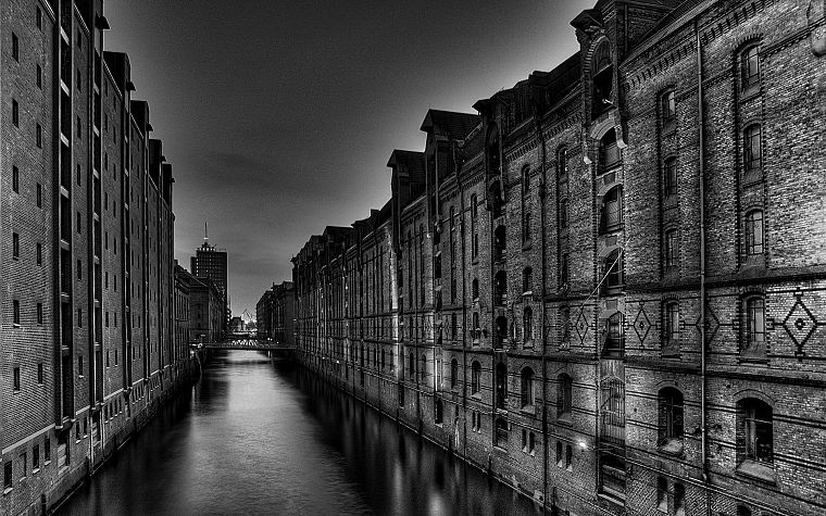 water, cityscapes, architecture, buildings, grayscale, monochrome, lakes - desktop wallpaper