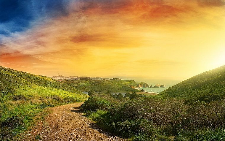 landscapes, nature, coast, hills, skyscapes - desktop wallpaper